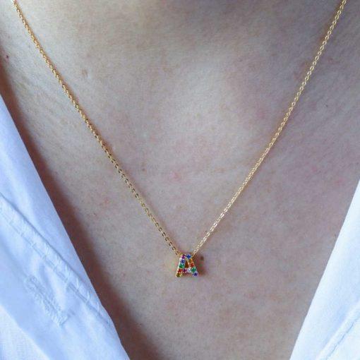 Collar Mini Inicial Multicirconitas Oro